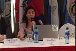 Rosa María Payá en el Foro de Movimientos Juveniles en Panamá.