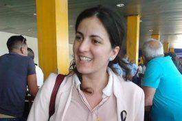 Rosa María Payá a su llegada al aeropuerto internacional José Martí de La Habana.