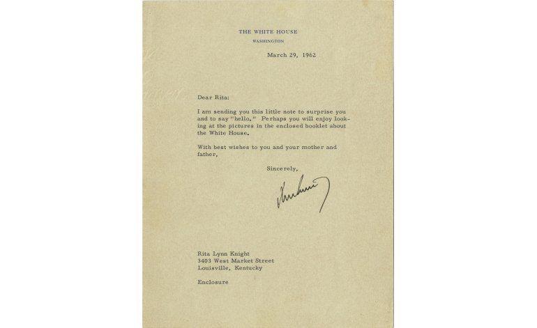 Venden carta de JFK a niña que lo admiraba