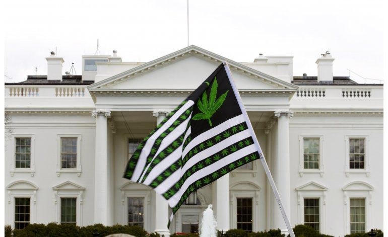 Activistas fuman marihuana afuera de Casa Blanca