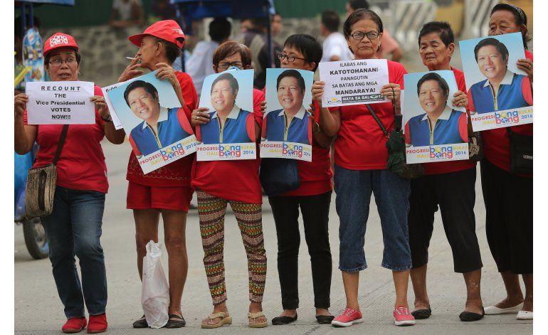 Congreso de Filipinas proclama presidente y vicepresidenta