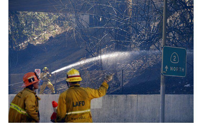 Incendio de matorrales causa temor en Los Ángeles