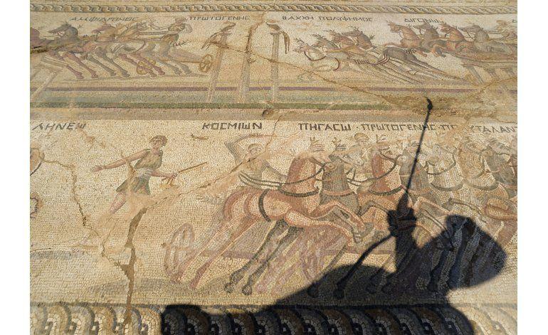 Chipre: Descubren mosaico romano de carrera de carros