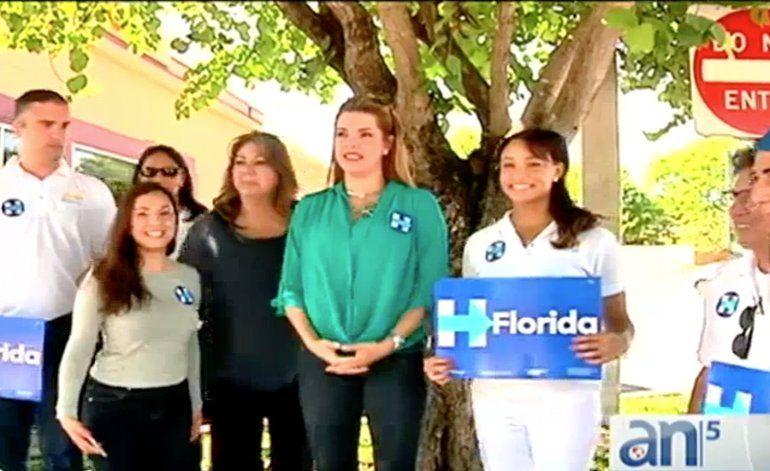 Ex-Miss Universo Alicia Machado, hizo campaña por Hillary Clinton en  Miami