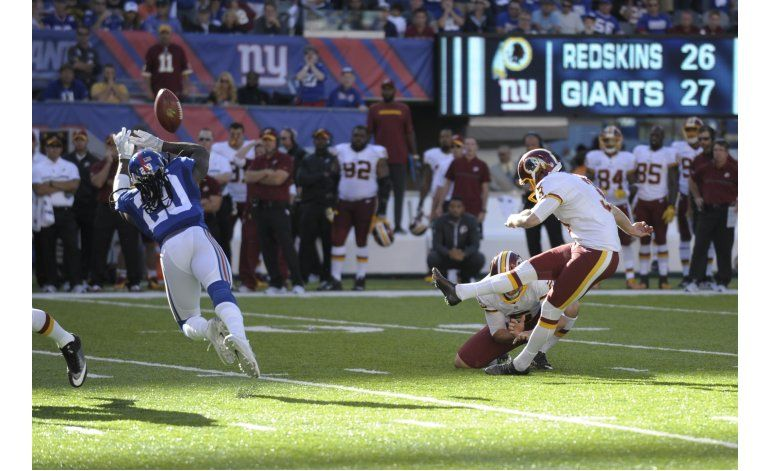 Con gol de campo de Hopkins, Redskins superan a Giants