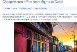 agencia de viajes online cheapair.com vende boletos a cuba