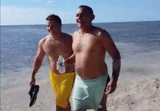 [Video]  balseros llegando a nado a los cayos de la Florida