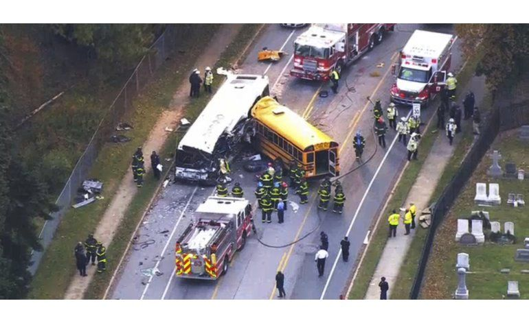 Al menos 6 muertos en choque de buses en Baltimore