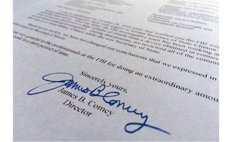 FBI descarta presentar cargos contra Clinton por correos