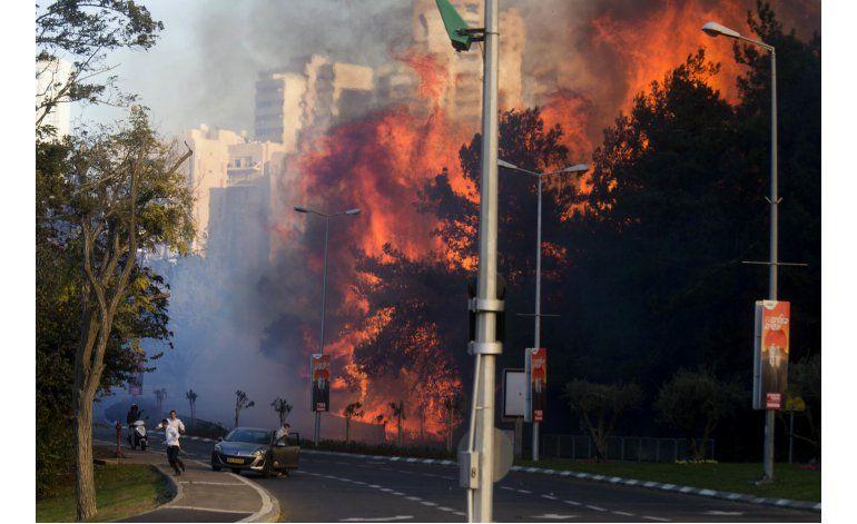 Incendio forestal azota Haifa, la tercera ciudad de Israel