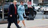 Melania Trump luce conjunto azul claro de Ralph Lauren