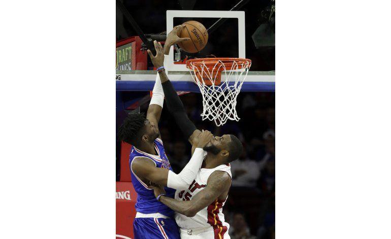 Sin Embiid, 76ers rompen racha de victorias del Heat