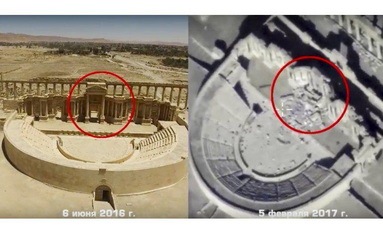 Imágenes de drones muestran nuevos daños en antigua Palmira