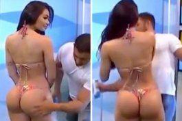 modelo brasilena abofetea a presentador por manosearla en vivo
