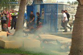 policias y estudiantes  protagonizaron un simulacro en materia de seguridad y emergencia
