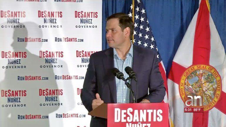 El Senador Marco Rubio apoyo hoy públicamente a los candidatos republicanos Ron de Santis y Jeannette Nunez