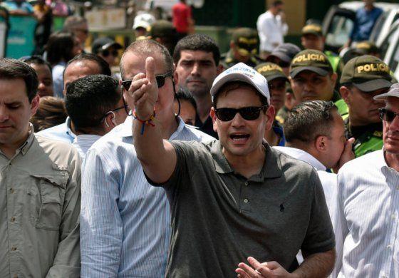 El senador Marco Rubio junto al congresista Mario Díaz Balart llegaron  este domingo a Cúcuta para supervisar entrada de ayuda humanitaria a Venezuela