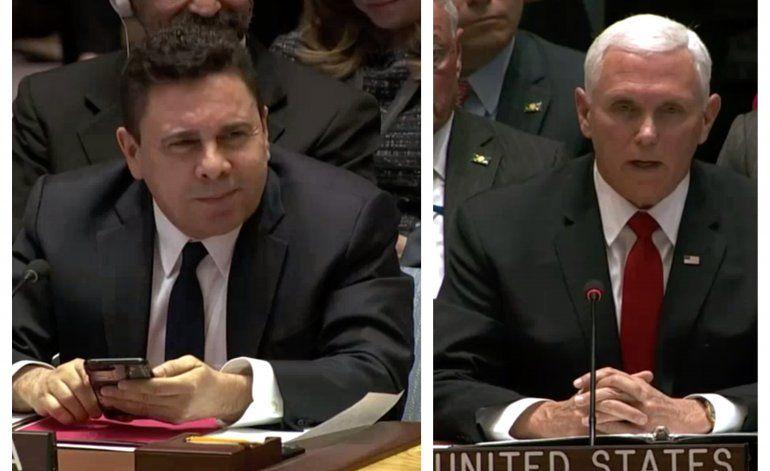 El fuerte mensaje de Mike Pence al representante  de Venezuela en la UNO Debería regresar a Venezuela y decirle a Nicolás Maduro que su tiempo se ha acabado