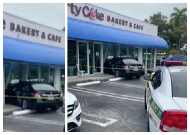 Señora confunde el freno con el acelerador y se estrella contra una dulcería del SW de Miami
