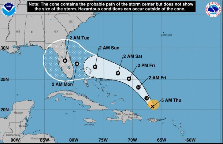El huracán Dorian sigue fortaleciéndose en aguas del Atlántico y viene rumbo hacia Florida