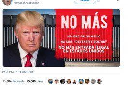 no mas, el primer tuit en espanol de trump. un mensaje en contra de los migrantes ilegales