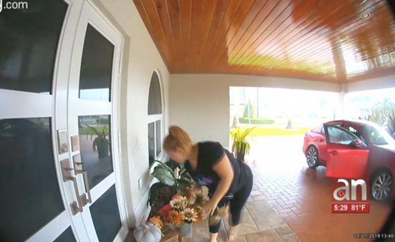 Captan en cámara como una mujer le roba los adornos a una casa en el SW de Miami