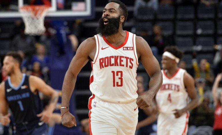 Harden aporta 44 puntos; Rockets vencen a Grizzlies