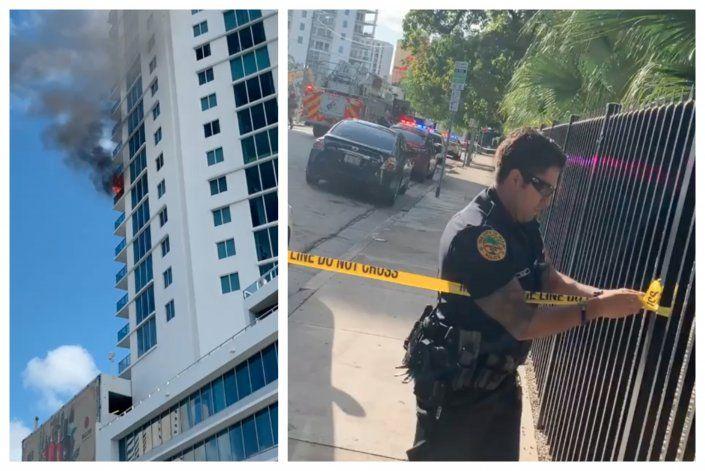 Incendio de una parrilla  causa alarma en edificio de lujo en  el Downtown de Miami