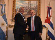 alberto fernandez se reune con diaz-canel en su primer dia como presidente