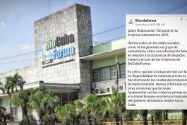 biocubafarma confirma una gran reubicacion de trabajadores por falta de insumos para producir