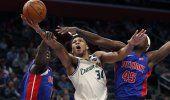 Bucks dominan a Pistons con 33 puntos de Antetokounmpo