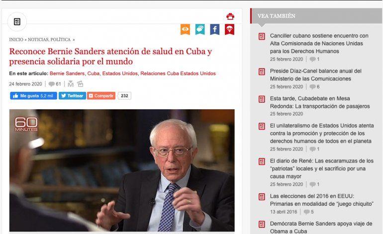 La prensa cubana respalda las declaraciones de Bernie Sanders mientras que el partido Demócrata de Florida lo condena