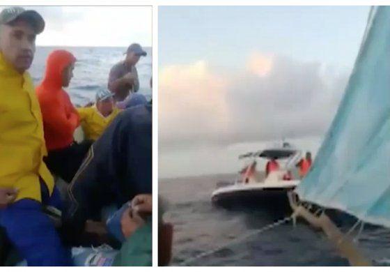 Cubanos balseros graban el momento en el cual guardacostas cubano los interceptan cuando intentaban llegar a Miami