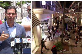 francis suarez, anuncio la apertura de establecimientos del centro comercial bayside tras ser vandalizados