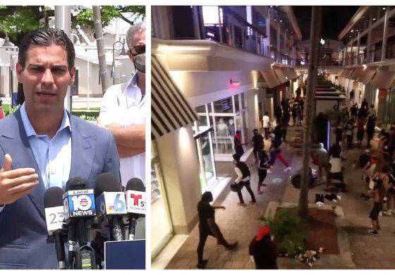 Francis Suárez, anunció la apertura de establecimientos del centro comercial Bayside tras ser vandalizados