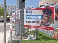 aparecen carteles de la candidata eileen higgins con una boina del che guevara