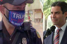 alcalde francis suarez califica de inapropiada la accion del policia que uso mascara en apoyo a trump