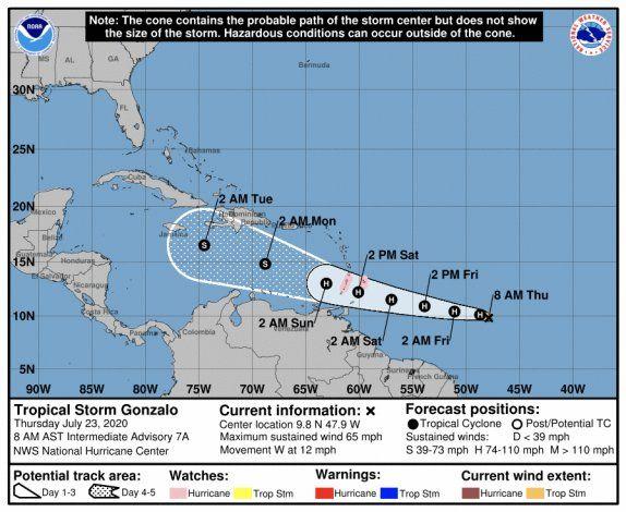 Gonzalo continúa con fuerza de tormenta tropical