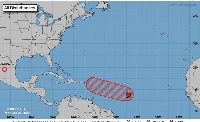 Onda tropical continúa con alta probabilidad de desarrollo ciclónico