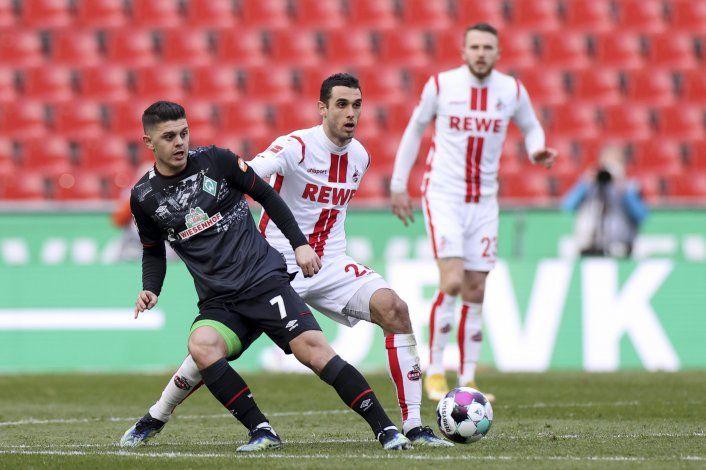 Gol de Sargent alcanza para empate del Bremen ante Colonia