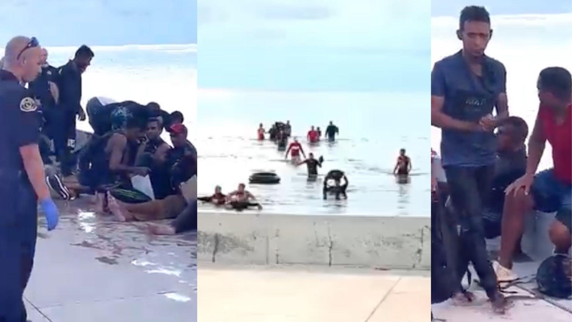 Captan en video momento en que 17 balseros cubanos llegan a costas de Key West