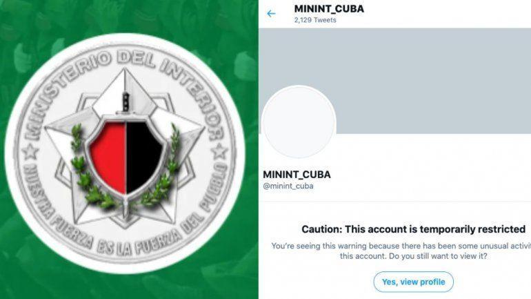 Twitter restringe temporalmente la cuenta del MININT cubano tras detectar una actividad inusual