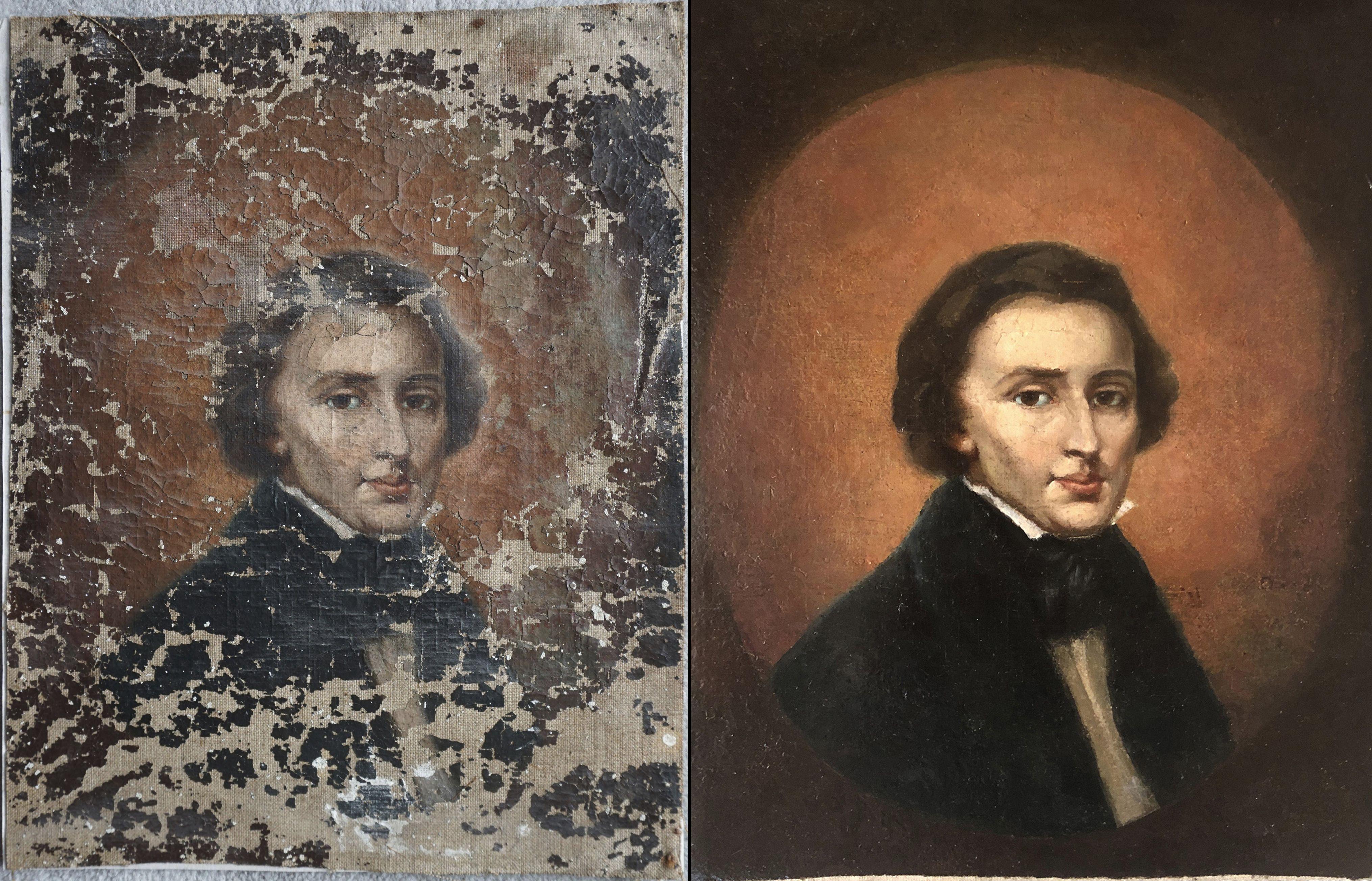 retrato restaurado de chopin reposa en boveda, por ahora