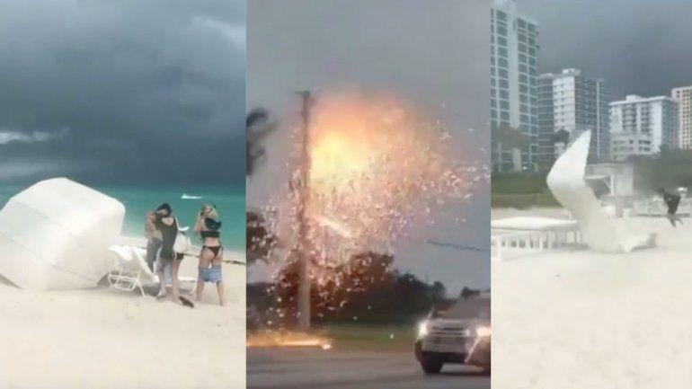 El mal tiempo en Miami provocó cancelaciones de vuelos en MIA, caos en Miami Beach y  líneas eléctricas caídas que provocaron incendios