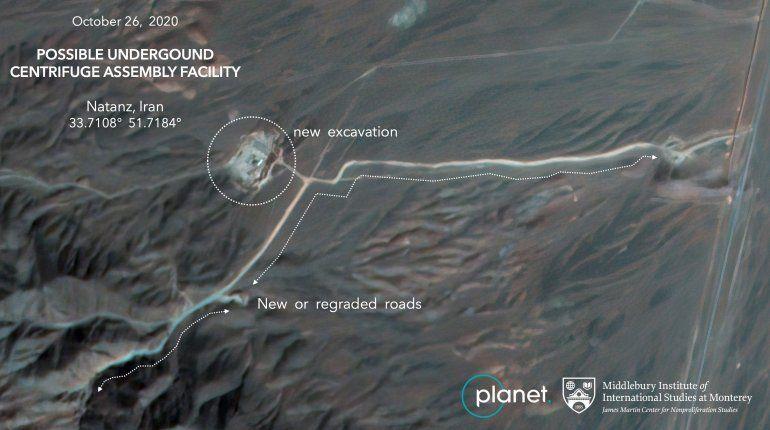 Fotos satelitales muestran obras en planta nuclear en Irán