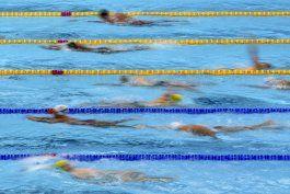 el caos organizado del calentamiento en la piscina olimpica