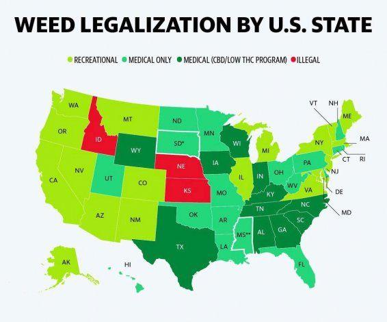 Mapa de la legalizacion del cannabis en Estados Unidos.