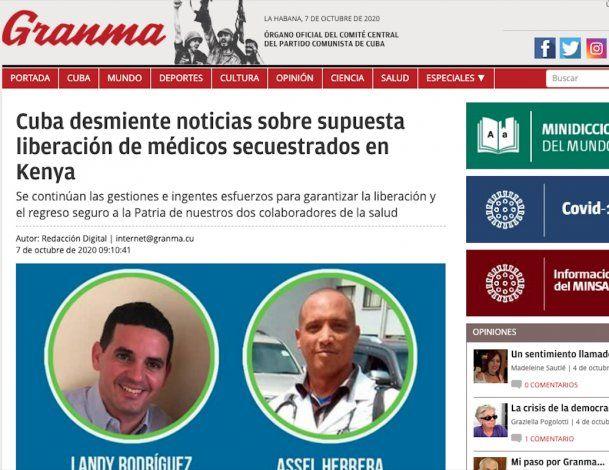 Cuba desmiente liberación de médicos