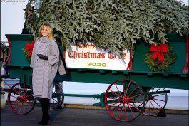melania trump recibe el arbol de navidad de la casa blanca
