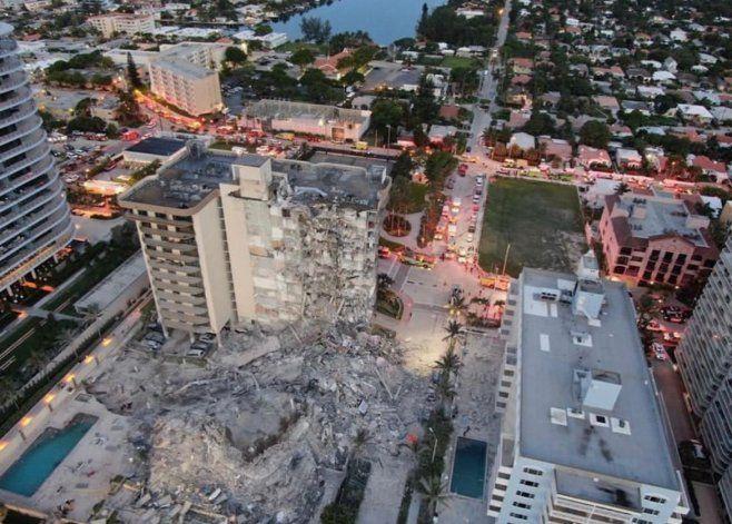 Imágenes devastadoras: así quedó la zona donde estaba el edificio que se derrumbó en Miami